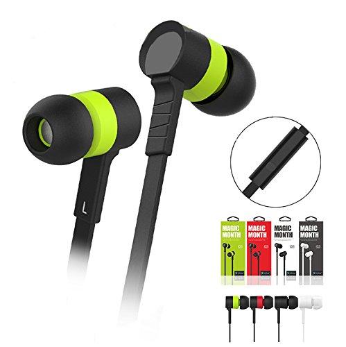 Emartbuy® Xidier Grün In Ear Kopfhörer Hochauflösend Flachkabel mit Eingebautem Mikrofon Geeignet Für Pinwheel 9.6 Zoll 3G Phablet -