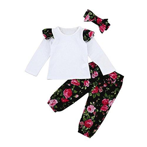 URSING 3 Stück Weich Kleinkind Säugling Baby Mädchen Beiläufig Blumen Drucken Kleider Set Lange Ärmel Tops + Hose + Stirnband Outfits 6-24 Monat (Blumen, 12M)
