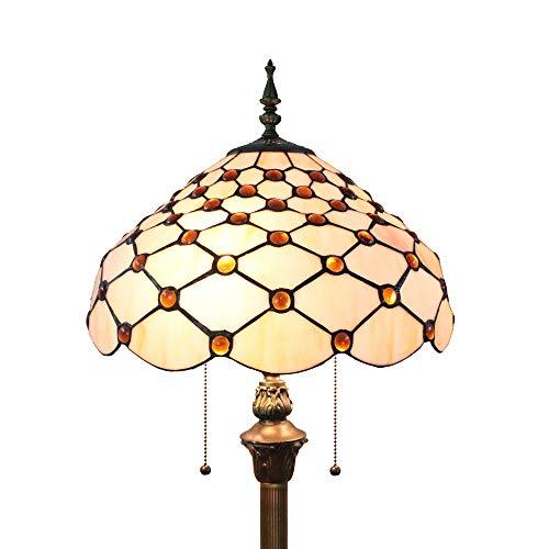 Tiffany tehlampe Modern Wohnzimmer Bernstein Retro, Buntglas Einfacher Stil Kristallperlen Glas Lampenschirm Stehlampe Bunt 64 Zoll by FBOSS