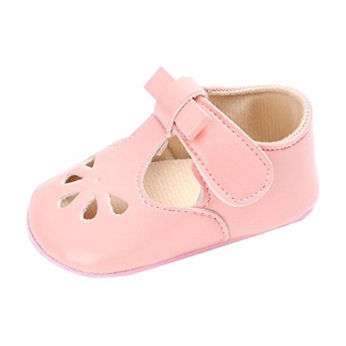 Lederschuhe Babyschuhe Neugeborenen Leder T-Strap Schuhe Kleinkind Prinzessin Party SchuheLauflernschuhe Mädchen Krippeschuhe Krabbelschuhe Wanderschuhe LMMVP (Rosa, 12CM(6 ~ 12 Monate)) (Rosa Mädchen-kleid-schuhe)
