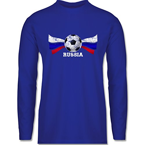 Shirtracer Fußball-WM 2018 - Russland - Russia Fußball Vintage - Herren Langarmshirt Royalblau