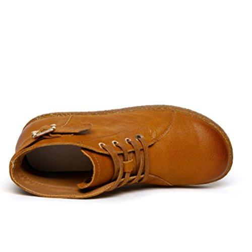 Vogstyle Damen Flach Stiefeletten Unifarben Elegant Boots Mit Riemen Braun-Warm Gefüttert