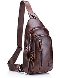 ELASZ Bolso Hombres de pecho, Cuero genuino Crossbody Bolso de hombro Bolsos de mochila Mochila Messenger Bag Daypack para el negocio Casual Sport Hiking Travel Brown marrón