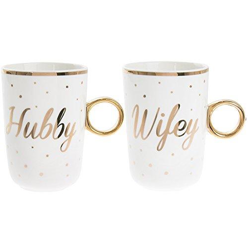 Gold Edition Set von 2Fine China Stapeln, Tee/Kaffee Tassen-Basteln & Wifey Neu mi/50. Hochzeit/Goldene Hochzeit Jahrestag.-Gold Polka Dot Detail & Griff Polka Dot Tee-set