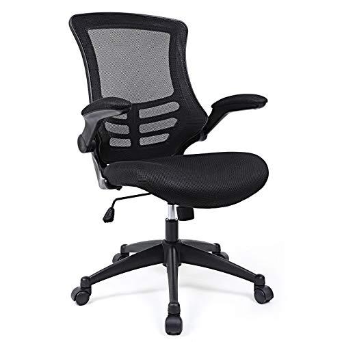 SONGMICS Bürostuhl, ergonomischer Drehstuhl mit klappbare Armlehnen, Höhenverstellung und Wippfunktion, Schreibtischstuhl für Soho- oder Büroarbeit, Schwarz OBN81B
