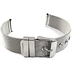 Mallom® Watch Band 14mm Stainless Steel Watch Strap Silver