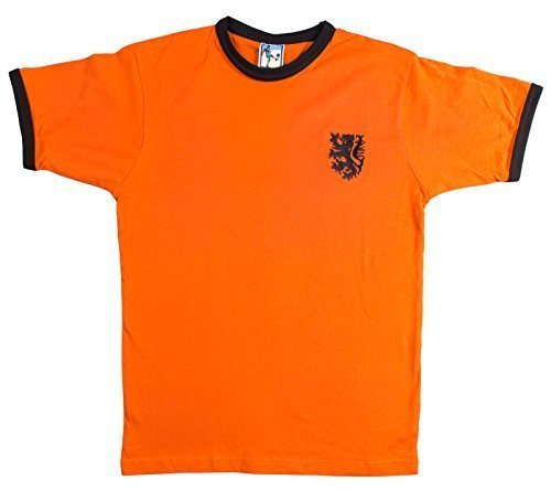 Retro Holland 1970s Fußball T-Shirt Größen S-XXL gesticktes Logo - Orange, Large
