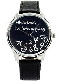 Ba Zha Hei Reloj de Cuero para Mujer Caliente Lo Que Sea Tarde Carta de Todos Modos Relojes Negro de Carta de…