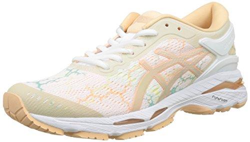 Asics Gel-Kayano 24 Lite-Show, Scarpe Running Donna, Bianco White/Apricot Ice 0101, 40.5 EU