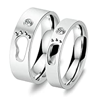 Stainless Steel Cubic Zirconia Foot Print Silver Wedding Engagement Ring Sets Women Size P 1/2 & Men Size N 1/2