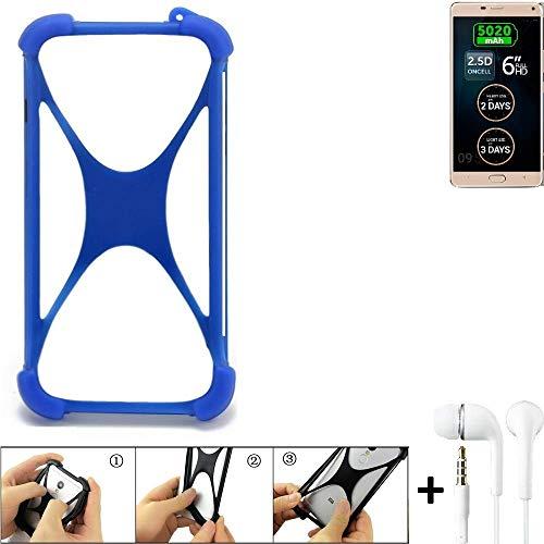 K-S-Trade Handyhülle für Allview P8 Energy Pro Bumper Schutzhülle Silikon Schutz Hülle Cover Case Silikoncase Silikonbumper TPU Softcase Smartphone, Blau (1x), Headphones