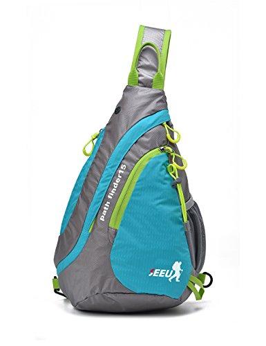 Umhängetasche Schultertasche, wasserabweisend und reißfest Brusttasche, Sling Bag 15L für Herren Frauen Kinder,blau