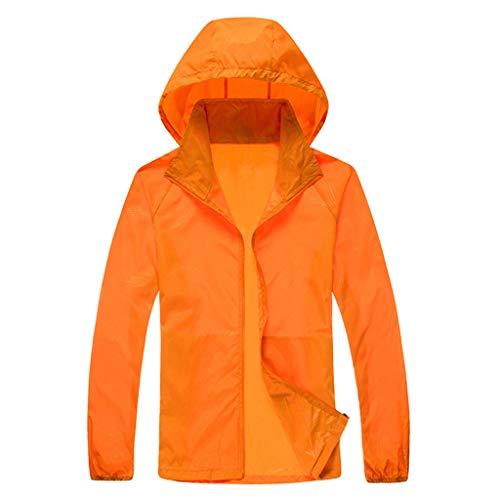 ZHANSANFM Sonnenschutzkleidung Unisex Ultradünne atmungsaktive Kleidung Radtrikot Radjacke Softshell Lightweightjacke Regenjacke upf50 uv-schutzkleidung Haut Windbreaker Outdoor (XS, Orange)