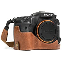 MegaGear mg1084Ever Ready Funda de Piel Mitad y Correa con Acceso a la batería para Sony Alpha a99II cámara–Color Marrón Oscuro