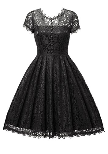 Gigileer Elegant Damen Kleider Spitzenkleid Cocktailkleid Knielanges Vintage 50er Jahr hochzeit Party schwarz XL (Damen-kleider Party)