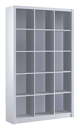 Habitdesign 005493BO - Estantería librería Triple, Color Blanco Brillo, Medidas 195 x 114 x 30 cm de Fondo