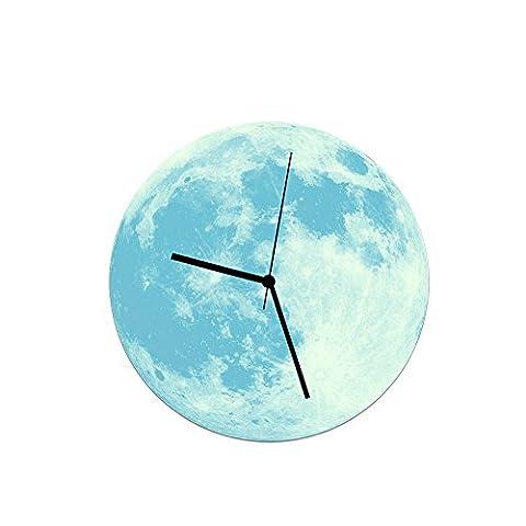 YU-K 30 Cm Kreative hell leuchtenden Mond Wanduhr Wanduhr Wanduhr Acryl wasserdichte Wanduhr Blue Moon