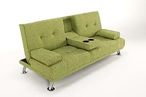 TV Style Linen Fabric Cinema Sofa Bed Futon with Drinks Holder. Beautiful Chrome Legs (Green)