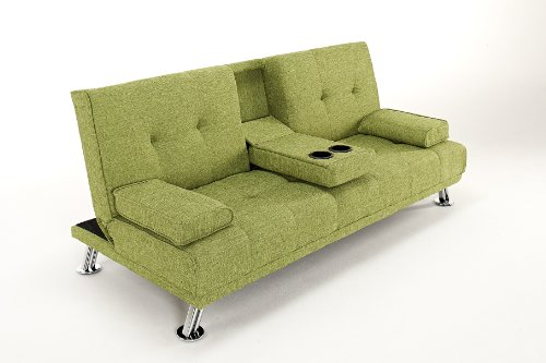 TV Style Linen Fabric Cinema Sofa Bed Futon with Drinks Holder. Beautiful Chrome Legs (Green)