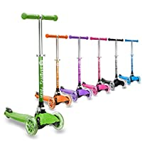 3StyleScooters® RGS-1 Little Kids Three Wheel Kick Scooter - Perfect for Children Aged 3+ Featuring LED Light-Up Wheels, Foldable Design, Adjustable Handles & Lightweight Construction -