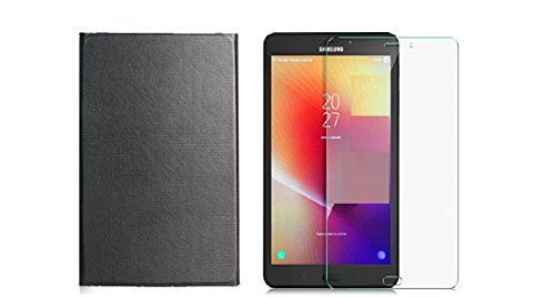 Colorcase Tablet Flip Cover Case for Samsung Galaxy Tab A 8.0 (2017) SM-T380 / SM-T385 8 Inch Tablet with Tempered Glass (Combo Pack)