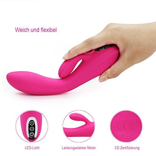 Vibratoren für Sie Klitoris und G-punkt mit Stoßfunktion - Adorime Silikon Rabbit Vibrator Analvibrator Dildo Erotik Sexspielzeug für Frauen und Paare mit 7 Vibrationsfrequenz - 5