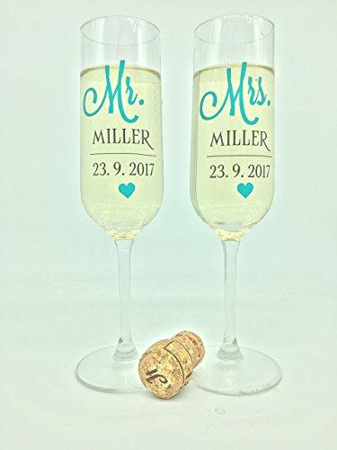2er Set MR & MRS Sektgläser personalisiert mit Namen und Datum *Hochzeitsgläser*Braut*Bräutigam*Hochzeit*Sektglas*personalisiert*Hochzeitsgeschenk*Champagne*Mr&Mrs*Individuell*