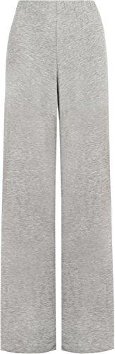 WearAll - Damen Übergröße palazzo weitem bein schlaghosen gummizug - Grau - 44 bis 46 (Original Hose Stretch Taille)