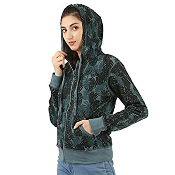 Elk Womens Printed Fullsleeve Hooded Sweatshirt Color Green