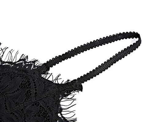 Letter Femme Sous-vêtement translucide Congélation en dentelle Condole Strap Lingerie Bra Top Noir