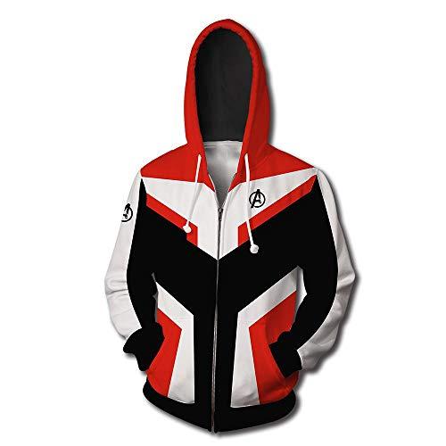 23587 Herren 3D Kapuzenpullover Cosplay Kostüm Rächer Kapuzenpullover Superheld Pullover Uniform Quantenreich Reißverschluss Jacke Sweatshirt A-XXXL (Superhelden Kostüme Für Kinder Uk)