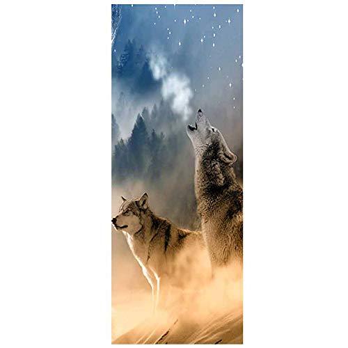 SOULOS Türaufkleber 3D Tier Szenerie Türtapete Wasserdicht Abnehmbar Selbstklebend Design Wohnzimmer Mädchen Schlafzimmer PVC Aufkleber Wolf Der Tür Poster (30.3X78.7In),B