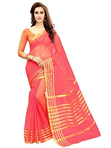 Glory Sarees Silk Saree with Blouse Piece (jari123gajari_Free Size)
