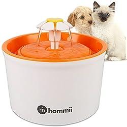 Hommii HP-88 Fuente de Agua para Perros y gatos 1.6L Eléctrico Automático 1.6 L Fuente de Flor Naranja
