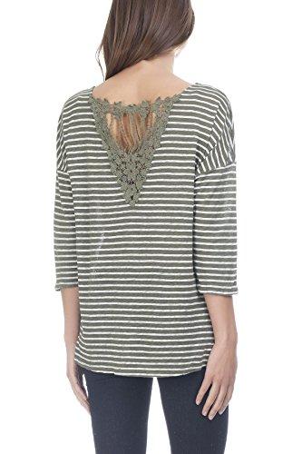 Laura Moretti - Leinen T-Shirt mit Rückenstickerei Grün