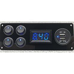 Lek Tek barca camper nero lucido 4x Interruttori voltmetro 2.1A USB