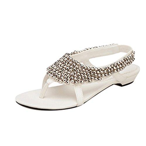 NiSeng Femmes Clip Toe Sandales Bohême T-Strap Perle Sandales Été Tongs Plage Sandales Blanc