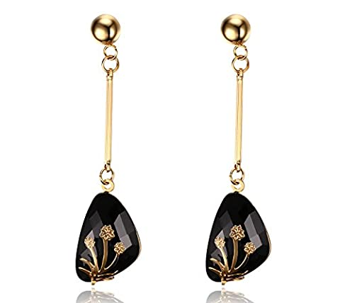 Vnox Vintage Stainless Steel Black Acrylic Crystal Flower Inlay Long Dangle Drop Earrings Gold