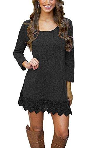 icocopro-womens-casual-plain-long-sleeve-a-line-lace-stitching-trim-t-shirt-loose-tunic-dress-black-