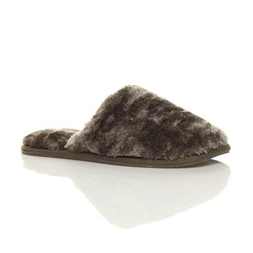 Femmes plat luxueux doux chaud fourrure doublée chaussons pointure Gris Marron