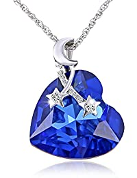 Sansar India Blue AB Crystal Moon Stars Heart Pendant Necklace For Girls And Women