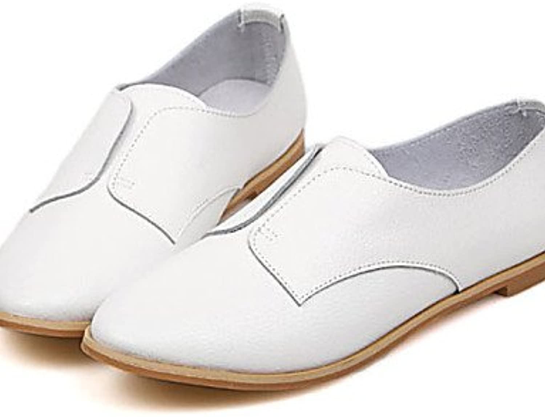 NJX/ Zapatos de mujer - Tacón Plano - Punta Redonda - Oxfords - Casual - Semicuero - Blanco , white-us8 / eu39...
