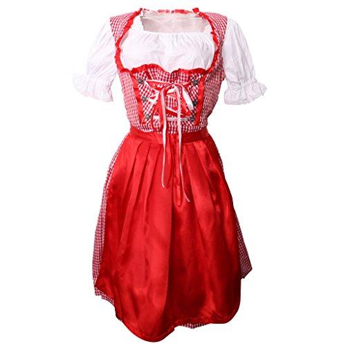 Gazechimp Damen Dirndl Trachtenkleid Kleid Oktoberfest Party Kostüm für Mädchen - XL