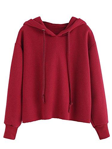 Tomwell Damen Einfarbig Kapuzenpullover Tunnelzug Langarm Pullover Kurz Leicht Hoodie Kapuze Sweatshirt Pullover Tops Bluse Rot DE 46 (Baumwolle Red Mantel Kap)