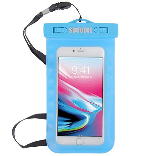 Wasserdichte Handyhülle wasserfest Handy Hülle Unterwasser Beutel Tasche mit Schlüsselband bis ca. 6 Zoll für die meisten Smartphone Modelle z.B. Samsung Galaxy S8 / S7 / S6 / iPhone 7 / 6 / 6S Blau