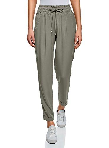 oodji Collection Mujer Pantalones con Elástico y Cordones, Verde, ES 36 / XS