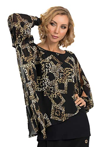 Joseph Ribkoff Black & Leopard Print Top Style 193571 - Fall/Winter 2019