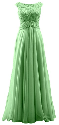 MACloth Elegant Cap Sleeves Long Prom Dress Lace Chiffon Formal Evening Gown Menthe