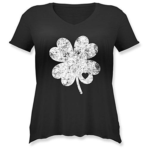 St. Patricks Day - Vintage Kleeblatt mit Herz - Weit Geschnittenes Damen Shirt in Großen Größen mit V-Ausschnitt Schwarz