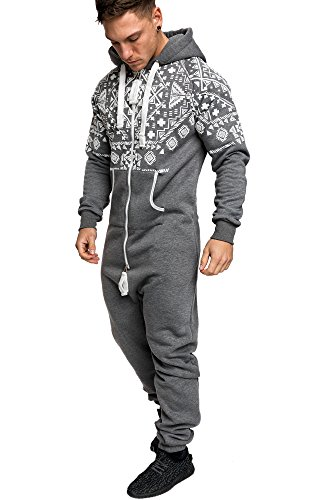 Amaci&Sons Herren Norweger Overall Jumpsuit Onesie Jogging Sportanzug Trainingsanzug Jogginganzug 3009 Anthrazit XL